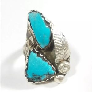 Jewelry - SILVER ELONGATED ETCHED FEATHER MULTI STONE DESIGN
